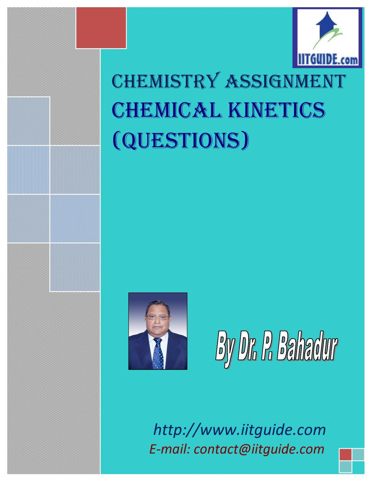 IIT JEE Main Advanced Chemistry Problems - Chemical Kinetics