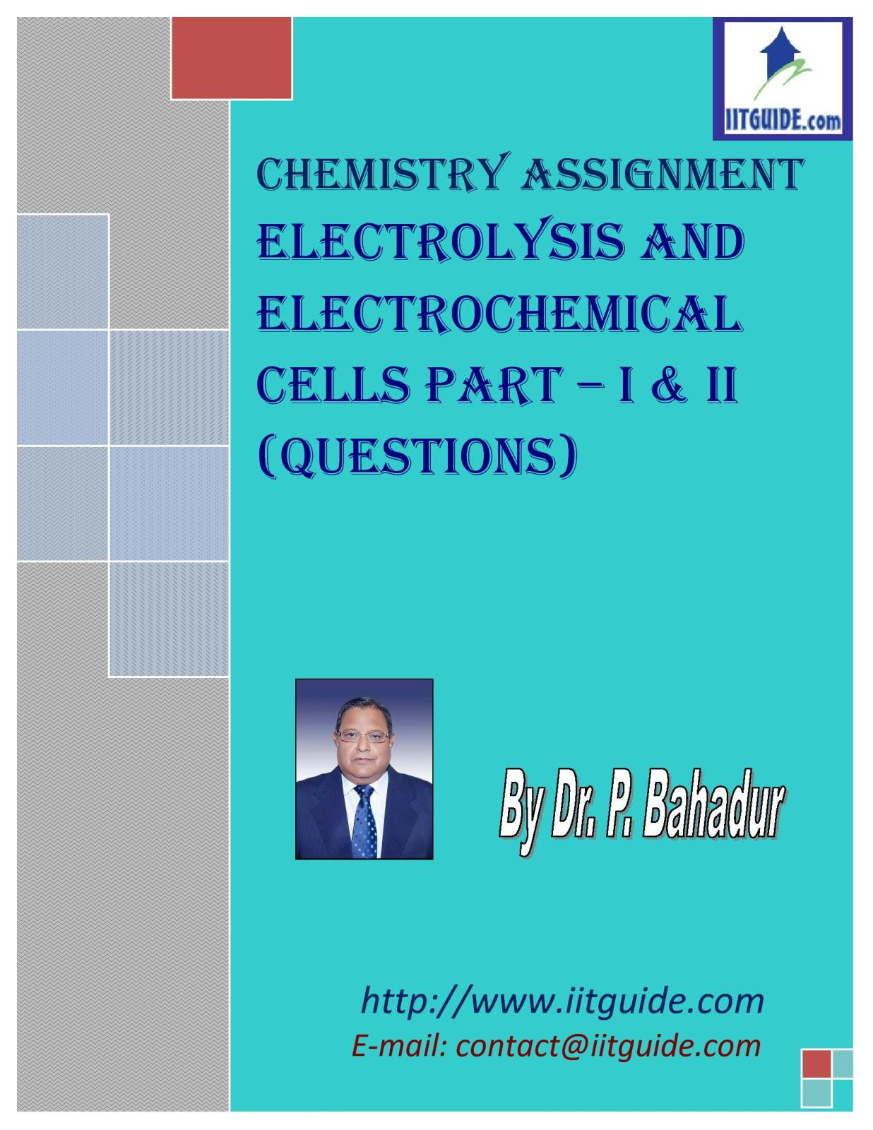 IIT JEE Main Advanced Chemistry Problems - Electrochemical Cells