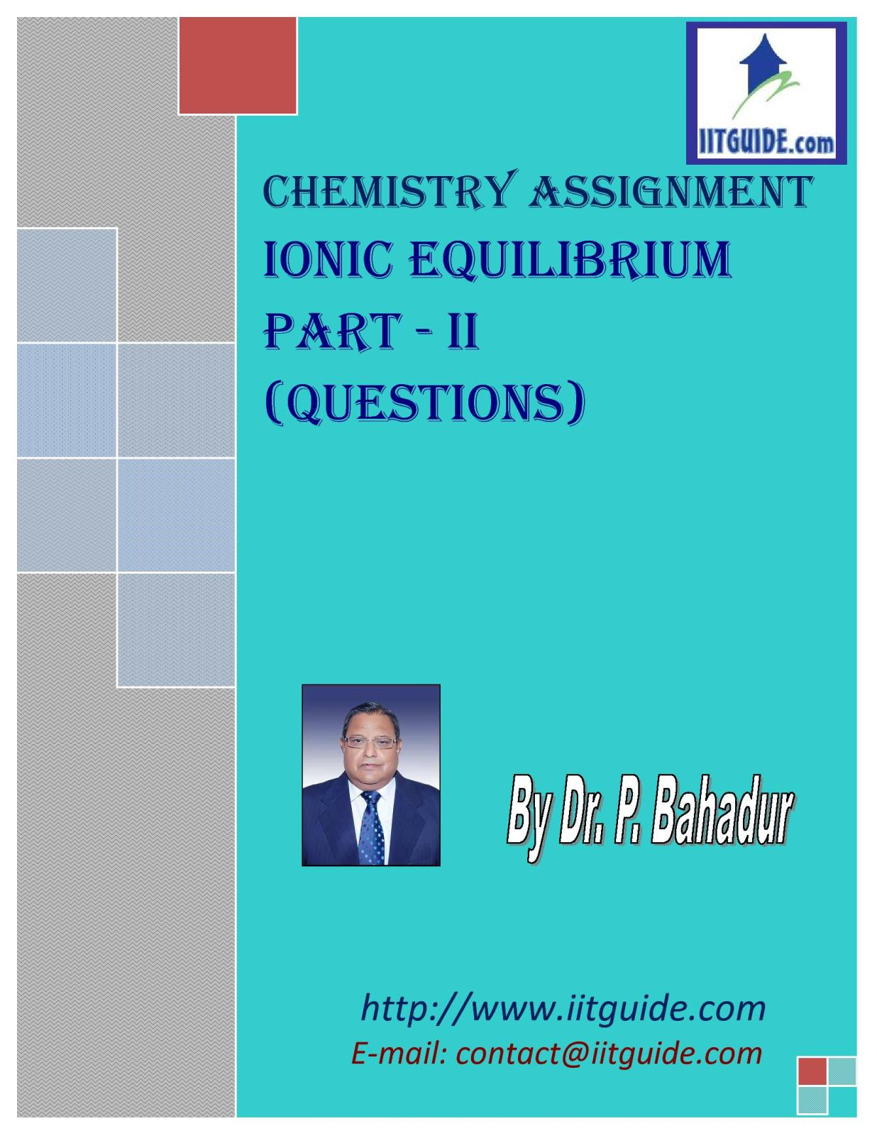 IIT JEE Main Advanced Chemistry Problems - Ionic Equilibrium 2