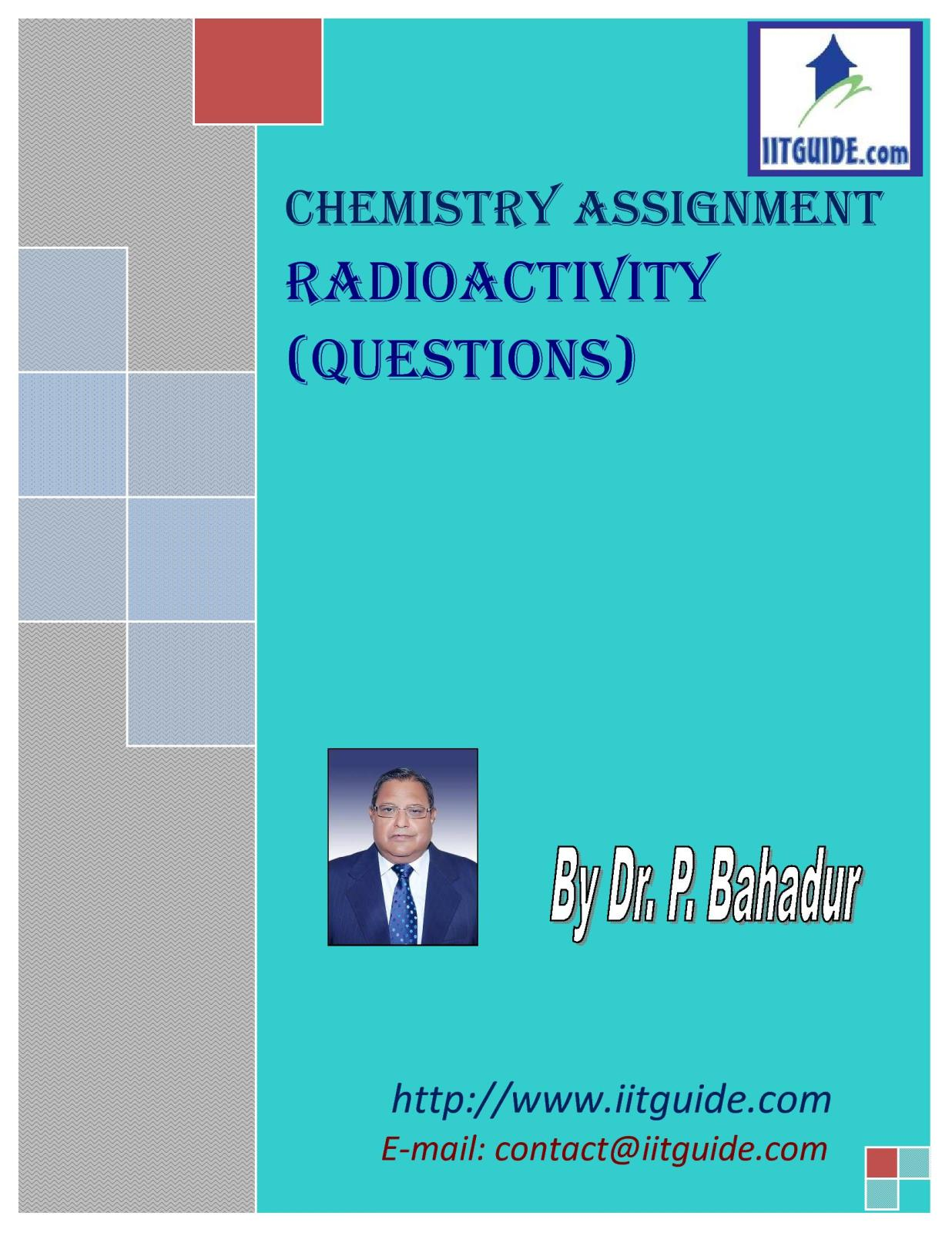 IIT JEE Main Advanced Chemistry Problems - Chemical Radioactivity