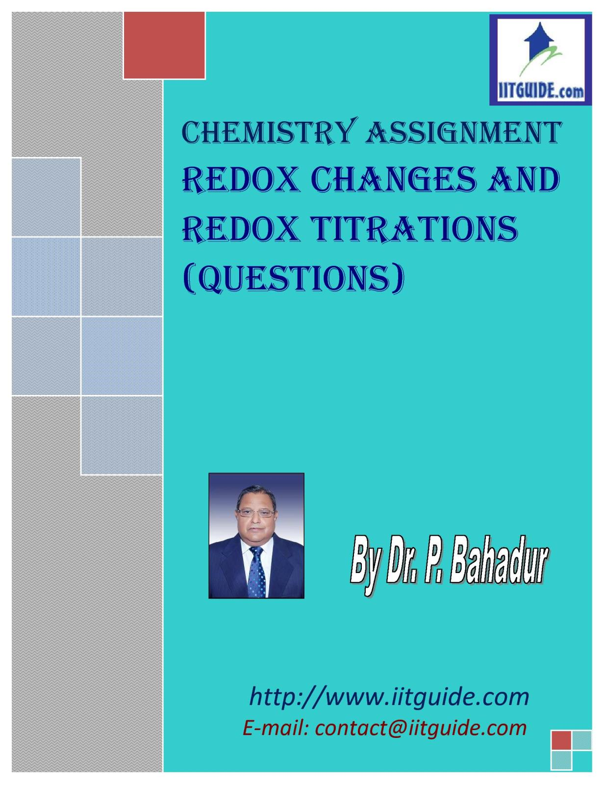 IIT JEE Main Advanced Chemistry Problems - Redox Changes