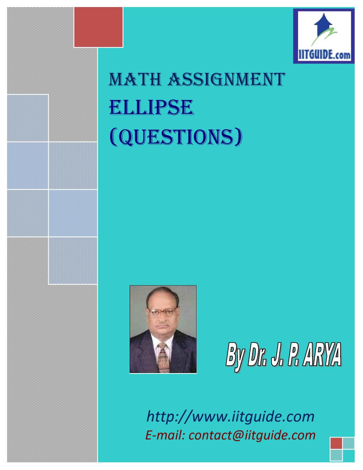 IIT JEE Main Advanced Math Problems - Ellipse