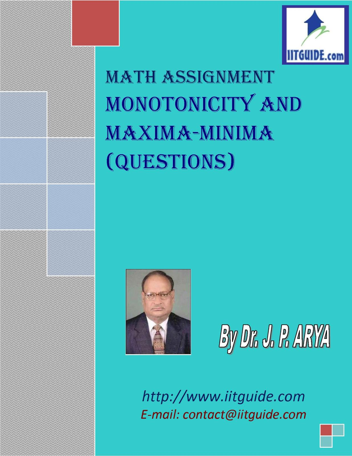 IIT JEE Main Advanced Math Problems - Monotonicity and Maxima Minima