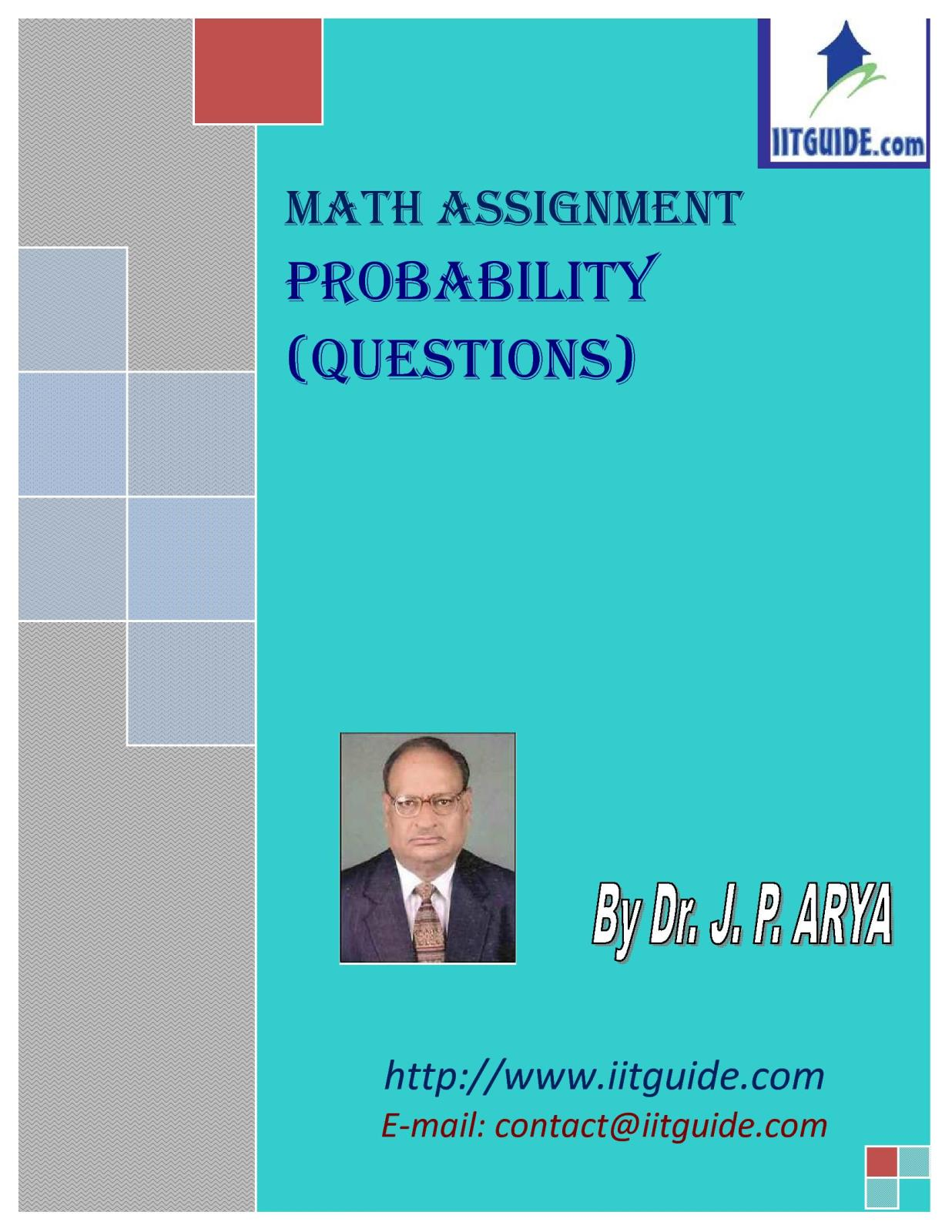 IIT JEE Main Advanced Math Problems - Probability