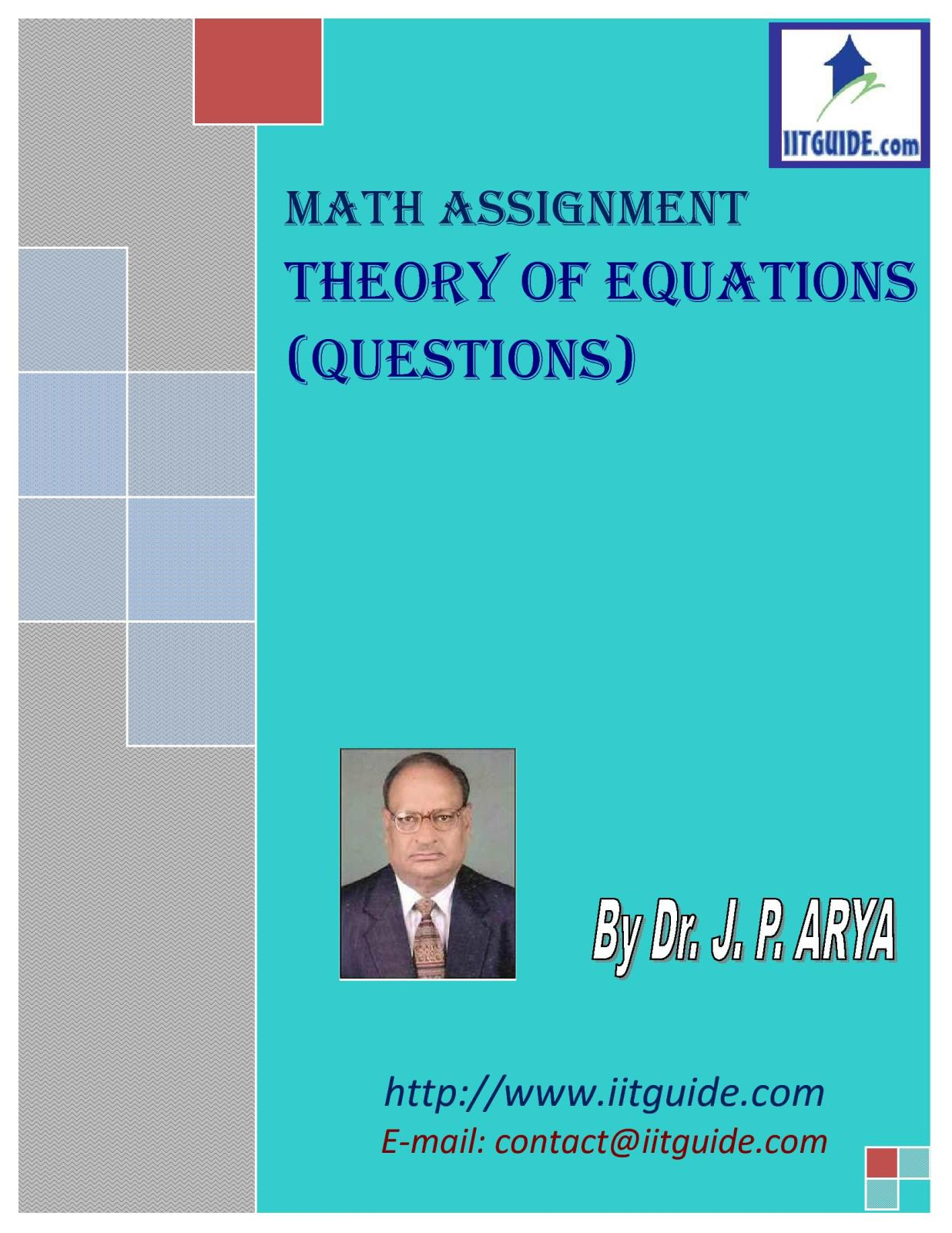 IIT JEE Main Advanced Math Problems - Theory of Equations