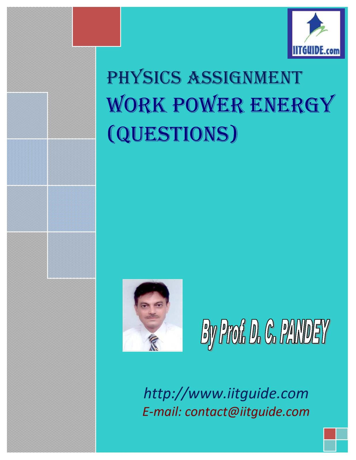 IIT JEE Main Advanced Physics Problems - Work Power and Energy